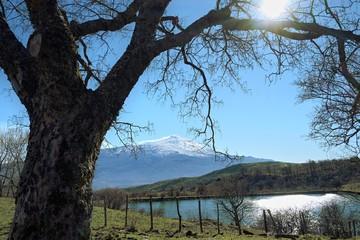 Fototapete - Sicilian Landscape With Etna Mount From Nebrodi Park, Sicily