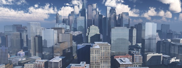 Skyscrapers from below, panorama of modern high-rise buildings against the sky