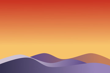 Ultra violet waves on gradient colorful surface (yellow, orange, red), similar to mountain view at dawn time. Use as background on presentation slide or graphic design. Vector illustration.