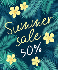 Summer sale. Promotional poster with tropical leaves and yellow flowers. Dark  background. Vector illustration.