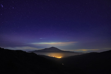 Night Lights Town And Etna Volcano From Nebrodi Park, Sicily