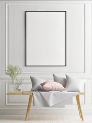 Mock up poster in Scandinavian interior concept design, your art work here, 3d render, 3d illustration
