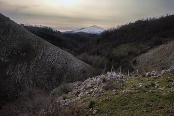 Fototapete - Gloomy Landscape Winter Etna Mount From Nebrodi Park, Sicily