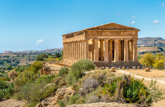 Temple of Concordia, located in the park of the Valley of the Temples in Agrigento, Sicily, Italy