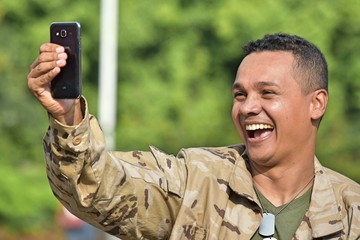 Selfie Of Minority Male Soldier