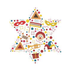 Purim holiday flat design icons set in star of david shape