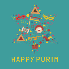 Purim holiday flat design icons set in star of david shape with text in english