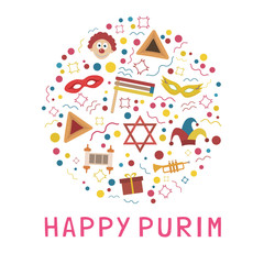 Purim holiday flat design icons set in round shape with text in english