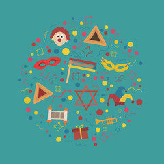 Purim holiday flat design icons set in round shape
