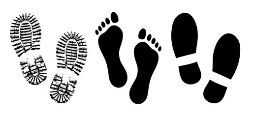Shoe sole, footprints human shoes silhouette vector, foot barefoot feet