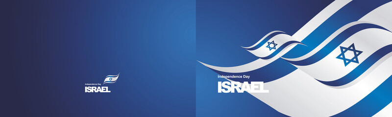 Independence Day Israel flag ribbon two fold landscape background greeting card