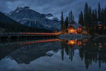 Night time Emerald Lake Lodge in Yoho National Park