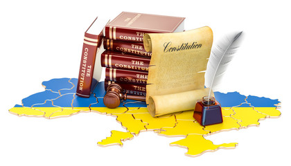 Constitution of Ukraine concept, 3D rendering