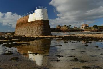 La Rocque Harbour, Jersey, U.K. Landmark at low tide.