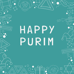 Frame with purim holiday flat design white thin line icons with text in english