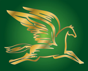 vector illustration of antique flying horse Pegasus