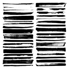 vector paint brush strokes, collection of grungy design elements. black, isolated on white background.