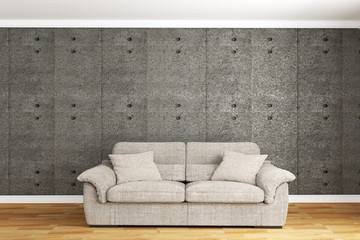 Concrete wall with sofa & sideboard on wood floor interior. 3D rendering