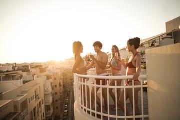 Celebrating on the terrace