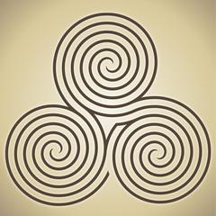 Triple spiral labyrinth symbol, vector illustration