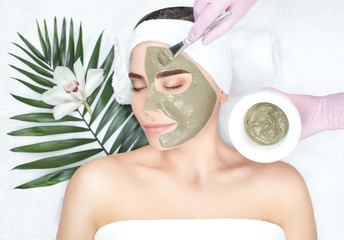The procedure for applying a mask from clay to the face of a beautiful woman. Spa treatments and...