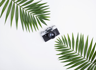 Palm leaves and old photo camera on white.