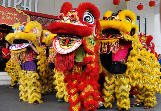 Chinese lion mask or lion head used to performed lion dance during Chinese New Year Festival at Seremban, Malaysia.