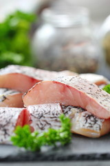 Raw fish ready for cooking