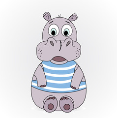 an illustration of a hippopotamus in a vest