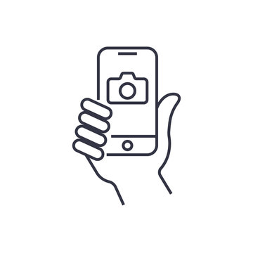 Taking selfie on smartphone concept creative icon selfie label.