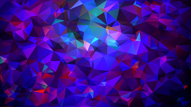 Abstract low poly background of triangles in Purple, pink, blue colors. Substrate for design. 16:9