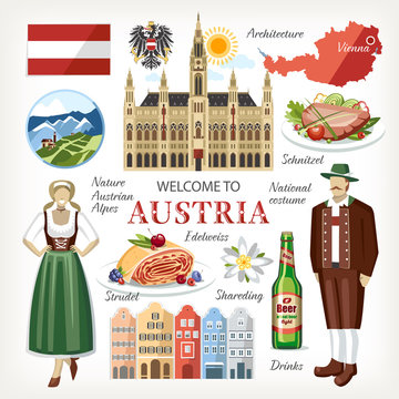 Austria symbols collection cathedral vienna national costume alps state symbols food map beer people architecture