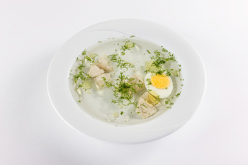 meat broth with egg