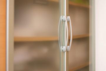 Elegant wardrobe glass door with metal handles
