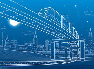 Monorail railway. Transportation illustration. Skyline, modern city, business buildings at background. Night scene. White lines on blue background . Vector design art