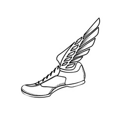 Sport shoes with wings icon.