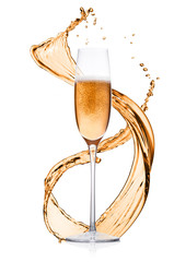 Glass of pink rose champagne splashes and bubbles
