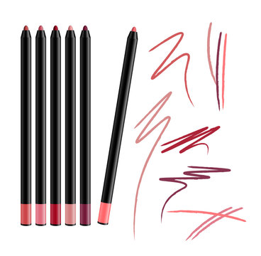 Cosmetic Make-up Eye liner Set Pencils Vector Isolated on White Background. Collection of lipliner pens for contour in glamour luxury vogue style. Color smear samples.