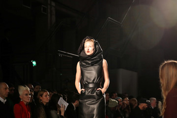 A model displays a creation during the Gareth Pugh show at London Fashion Week