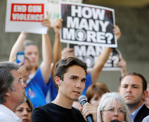 David Hogg, a senior at Marjory Stoneman Douglas High School, speaks at a rally calling for more gun control three days after the shooting at his school, in Fort Lauderdale