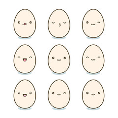 Happy Easter eggs set. Kawaii eggs with cute faces on white background. Vector illustration