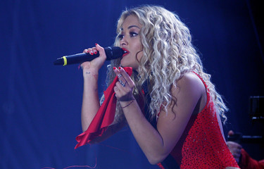 Singer Rita Ora preforms during celebration of the 10th anniversary of Kosovo's independence in Pristina