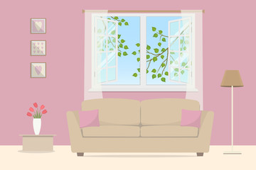 Pink living room. Beige sofa with pillows on an open window background. Outside the window there are tree branches with leaves. There is a lamp, a table with tulips and pictures in the room. Vector