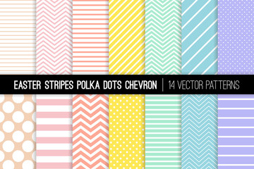 Pastel Rainbow Polka Dot, Chevron and Stripes Vector Patterns. Easter Backgrounds in Pink, Blue, Yellow, Turquoise, Coral and Lilac. Modern Minimal Design. Repeating Pattern Tile Swatches Included.