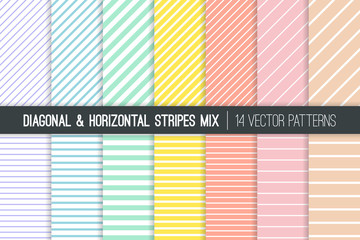 Pastel Rainbow Stripes Vector Patterns. Easter Backgrounds in Pink, Blue, Yellow, Turquoise, Coral and Lilac. Diagonal and Horizontal Lines. Minimal Design. Repeating Pattern Tile Swatches Included.