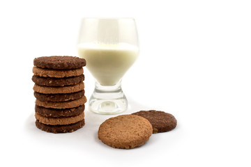 Cookies with milk stock images. Biscuits on a white background. Glass of milk with snack