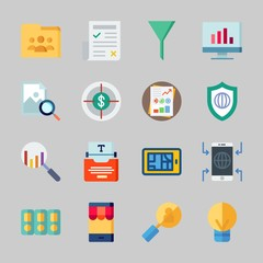Icons about Seo with folders, type writer, shield, folder, idea and analytics