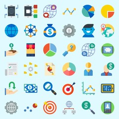 Icons about Marketing with receive, user, smartphone, targeting, line graph and salesman