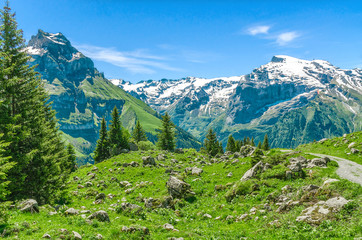 Swiss Alps. Resort Engelberg. Traveling on foot through the Swiss countryside and mountain tops