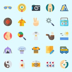 Icons about Hippies with pill, radio, photo camera, mushroom, pipe and orhthalmology